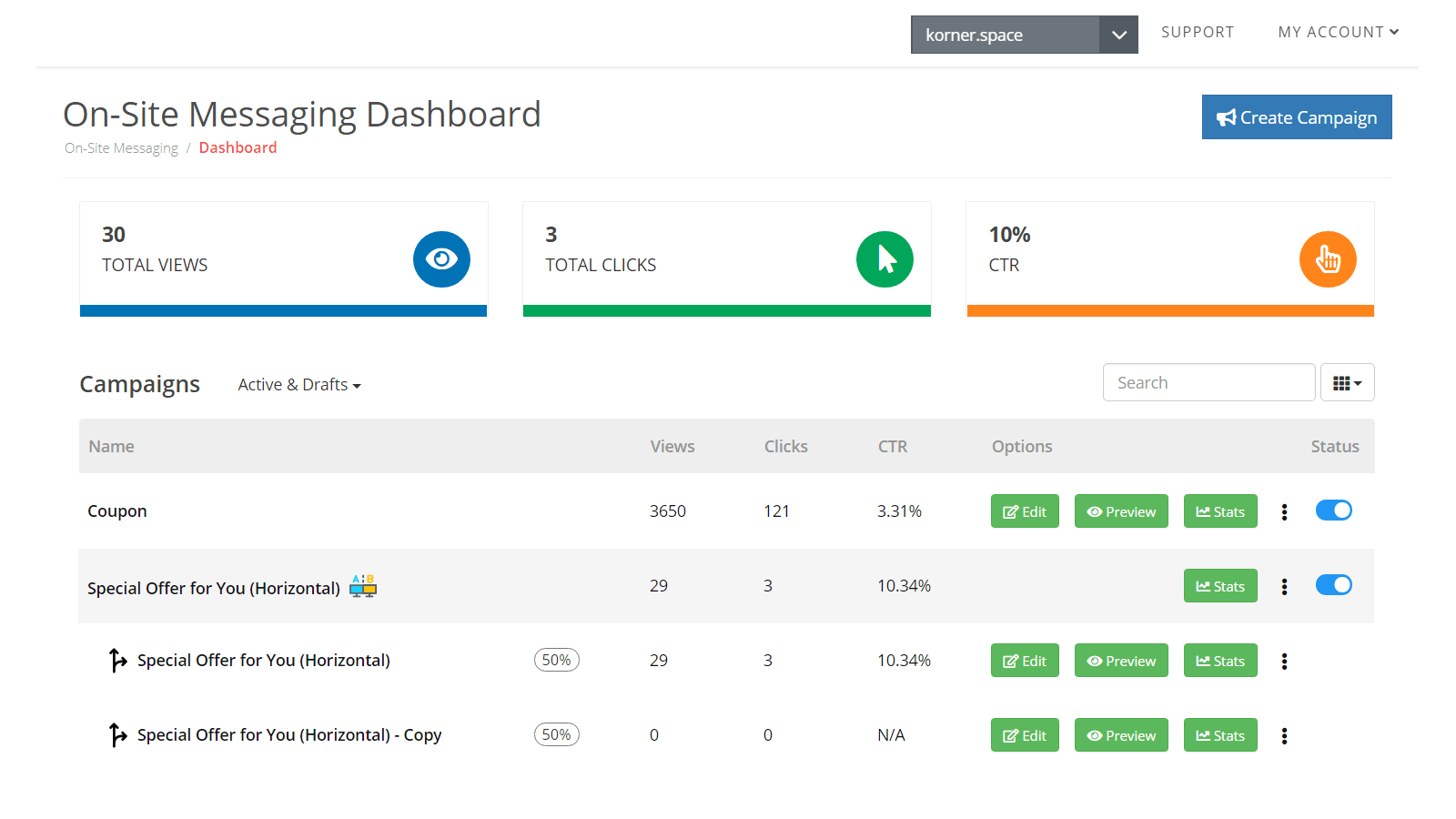 Onsite Messaging - Dashboard