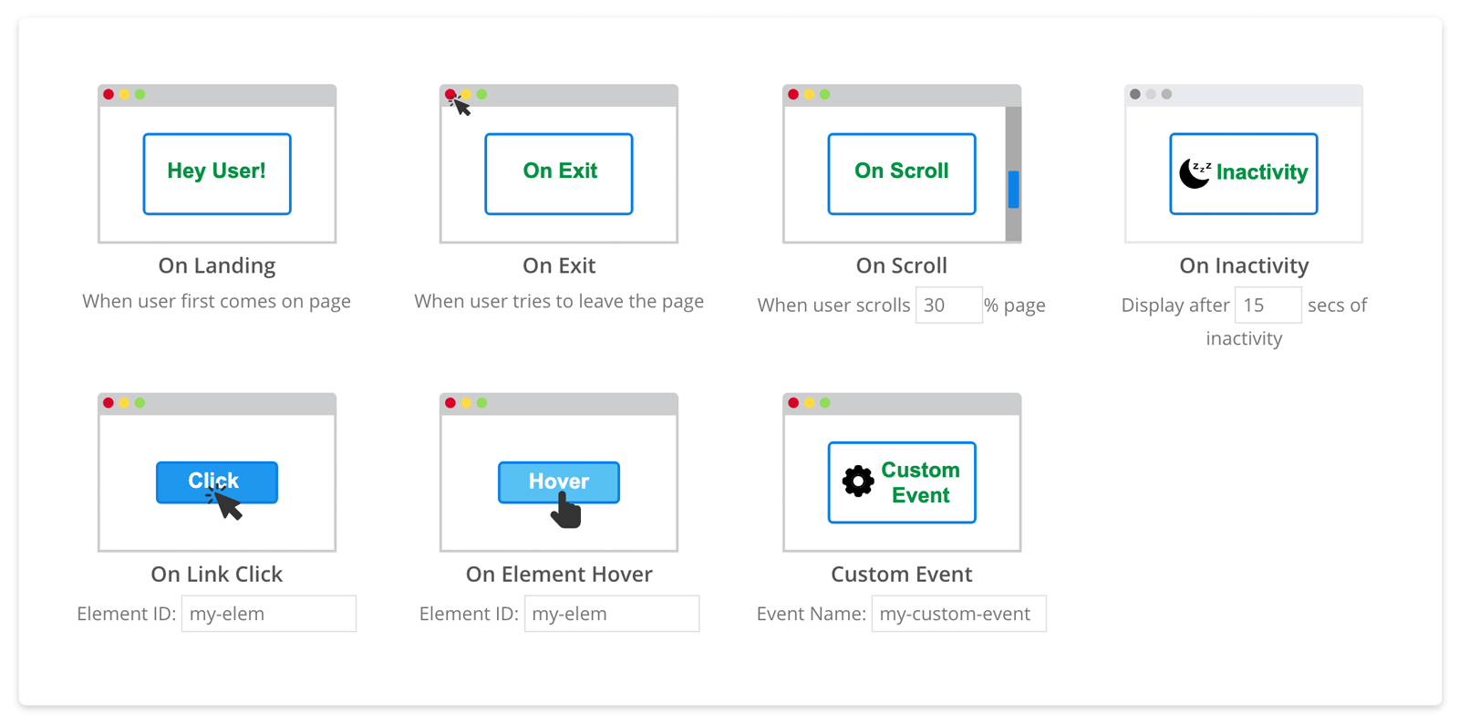 Onsite Messaging Builder Design Elements - Triggers